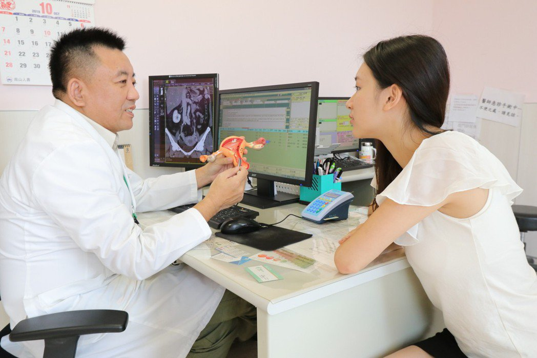 亞洲大學附屬醫院婦癌科主任葛裕民(左)表示,國內子宮內膜癌每年約新增2千多例,好...