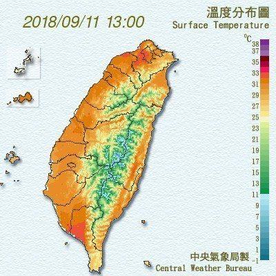 今天氣溫回升,西半部約32、33度。圖/翻攝中央氣象局網站
