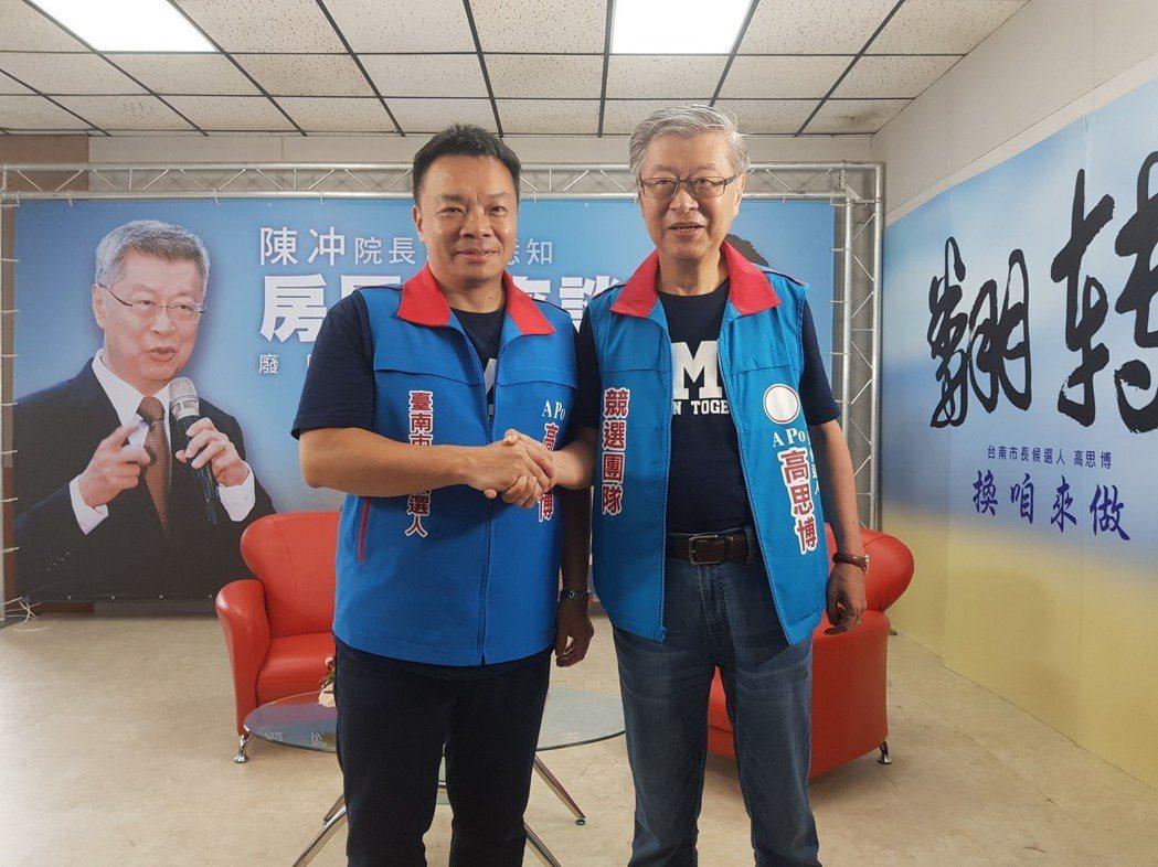 前行政院長陳冲今天南下為高思博助選。記者修瑞瑩/攝影