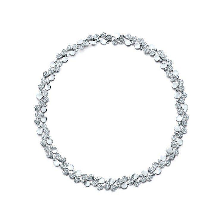 Tiffany Paper Flowers 系列花瓣設計鉑金鑲鑽頸鍊,272萬5...