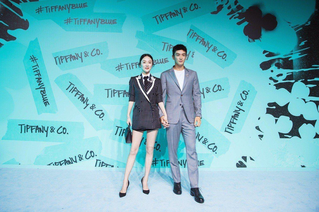 杜江與霍思燕夫婦出席Tiffany Paper Flowers系列發表活動。圖/...