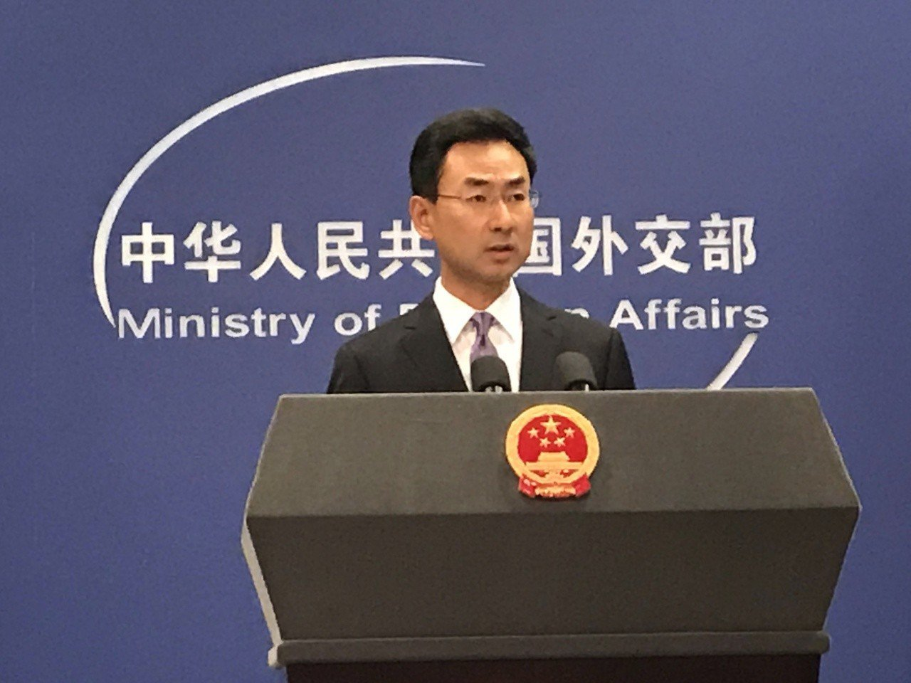 中共外交部發言人耿爽。 聯合報系資料照片/特派記者陳言喬攝影