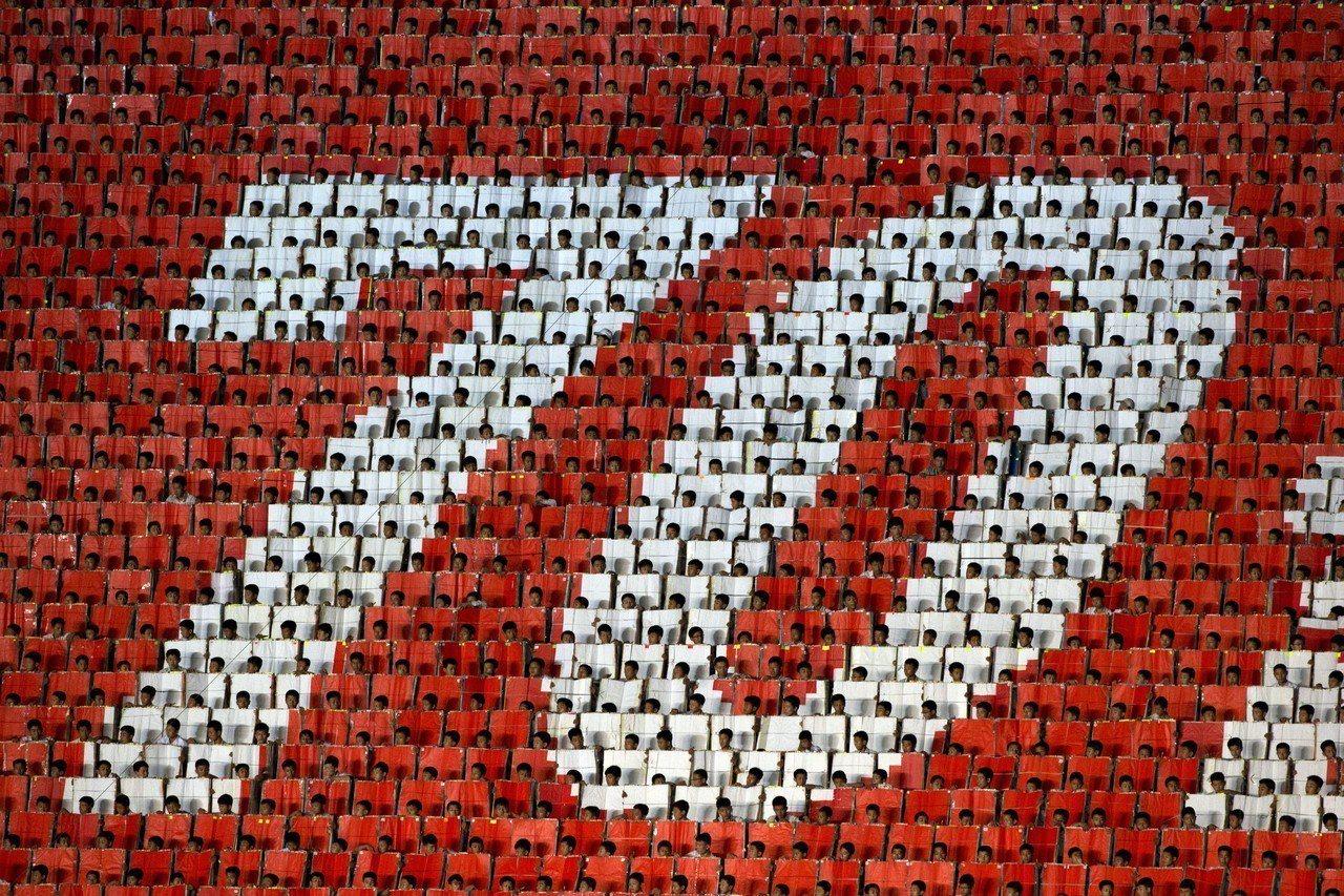 北韓9日高調舉行建政70周年紀念活動,其中包括睽違5年的「阿里郎節」大會操藝術表...