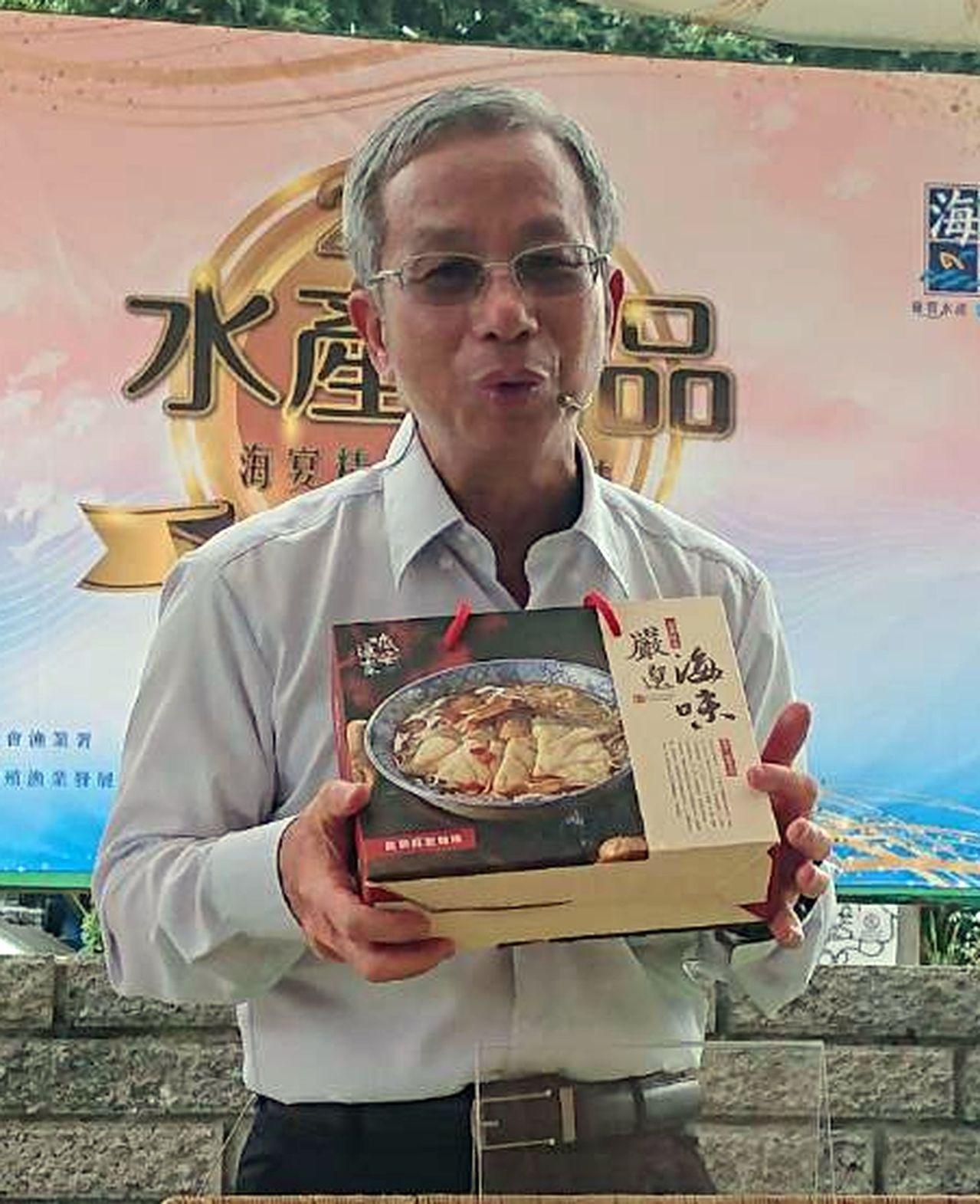 永安區渔會出品的「龍膽麻油麵線」禮盒,也是搶手的伴手禮。記者王昭月/翻攝