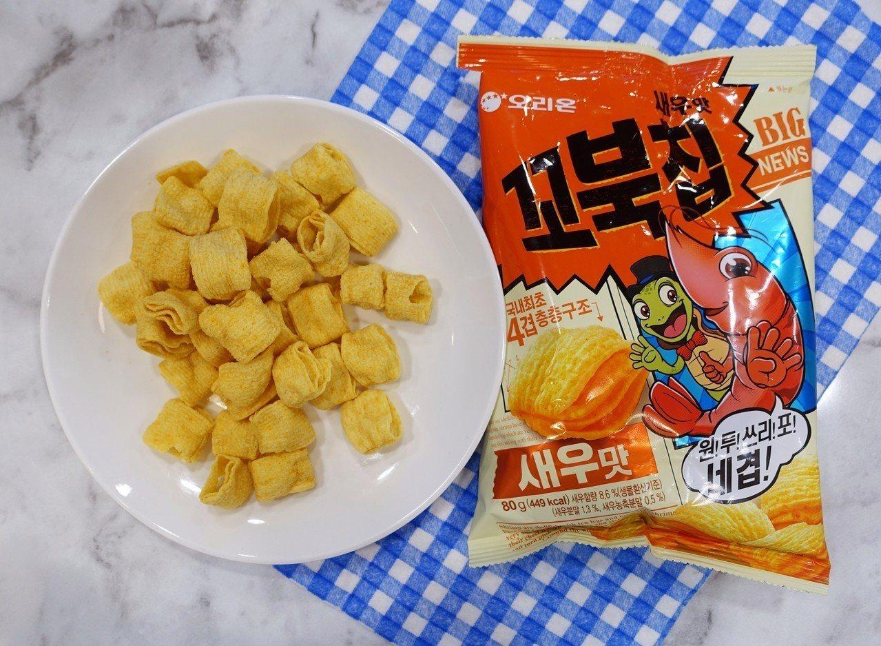 韓國烏龜玉米脆片烤蝦風味,售價65元。記者沈佩臻/攝影