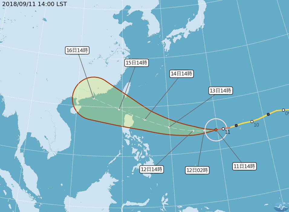 氣象局指出,隨著山竹颱風逐漸接近台灣附近,受外圍雲系影響,周五下半天以後東半部地...