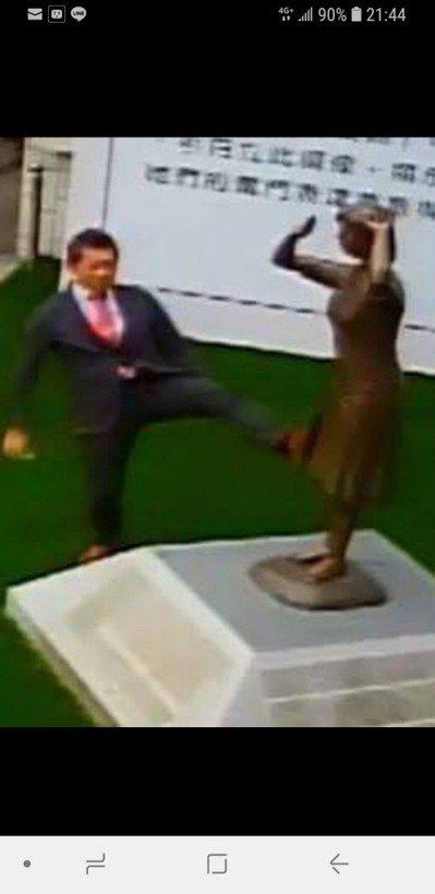 日人藤井實彥腳日前踢台南慰安婦銅像的畫面,近日引發廣大爭議。 記者修瑞瑩/翻攝