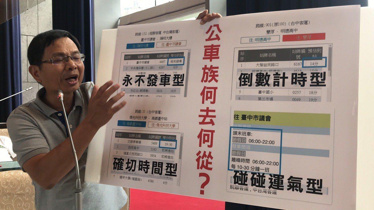 市議員陳清龍指出,台中公車動態有4種型態,讓乘客只能碰運氣。記者陳秋雲/攝影