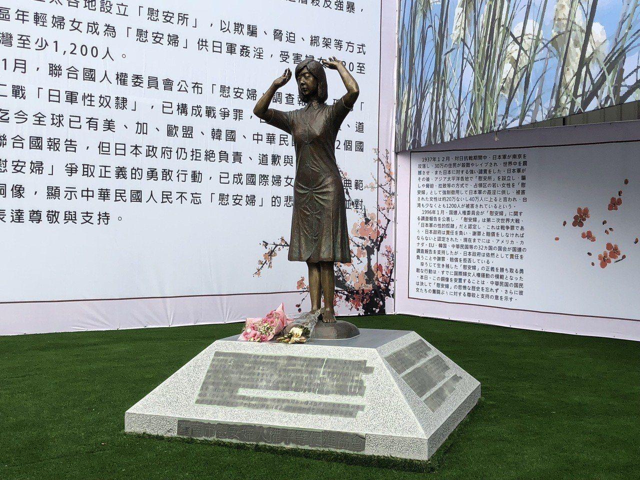 日本團體「慰安婦的真實國民運動」代表藤井實彥腳踢設置於台南的「慰安婦」銅像,引發...