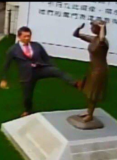 日人藤井實彥日前到台南市慰安婦銅像現場,做出腳踹銅像的動作,被監視器錄下。 圖/...