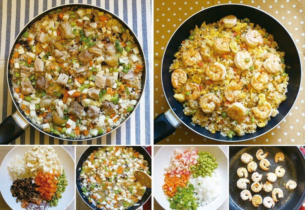 雞肉炊飯(左)跟蝦仁炒飯都是好看好吃一鍋到底。圖/太陽臉