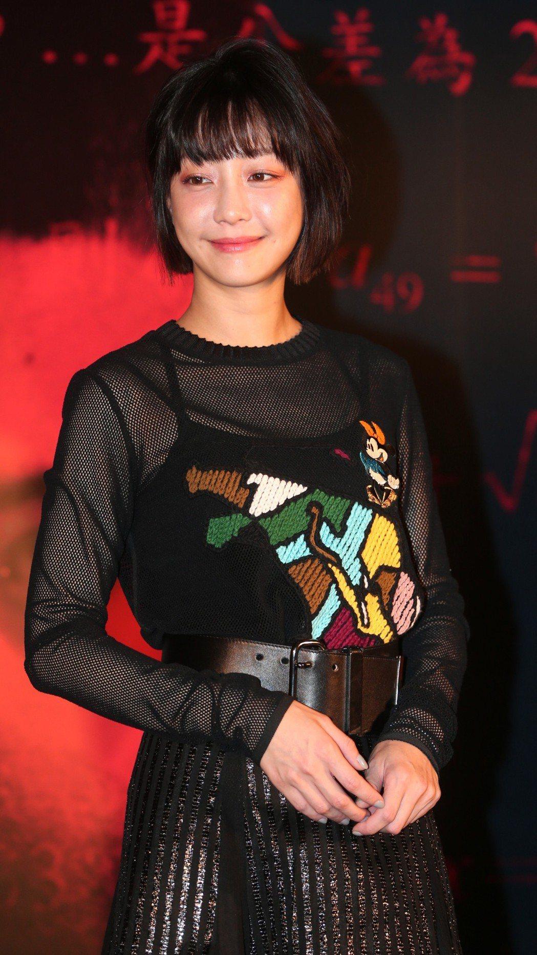 「藍色項圈」演員謝欣穎出席首映會。記者侯永全/攝影