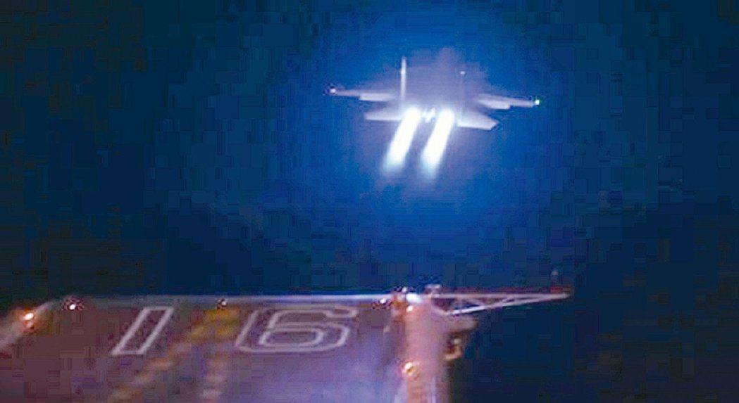 最近中共海軍艦載戰鬥機突破夜間艦基起降技術,多名飛行員一次起降成功。圖為日前遼寧...