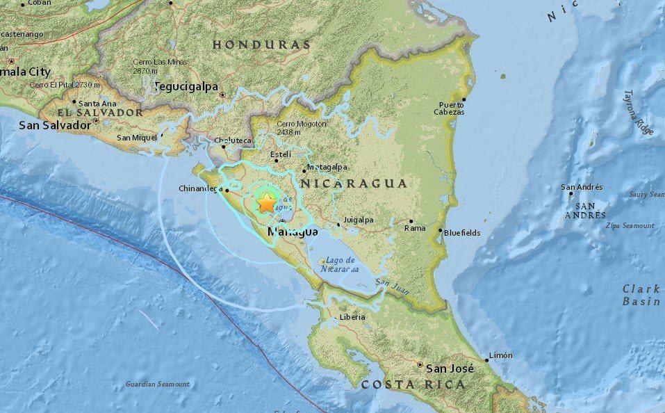 尼加拉瓜納加羅特市(Nagarote)西南西29公里處發生規模5.3地震。 擷自...