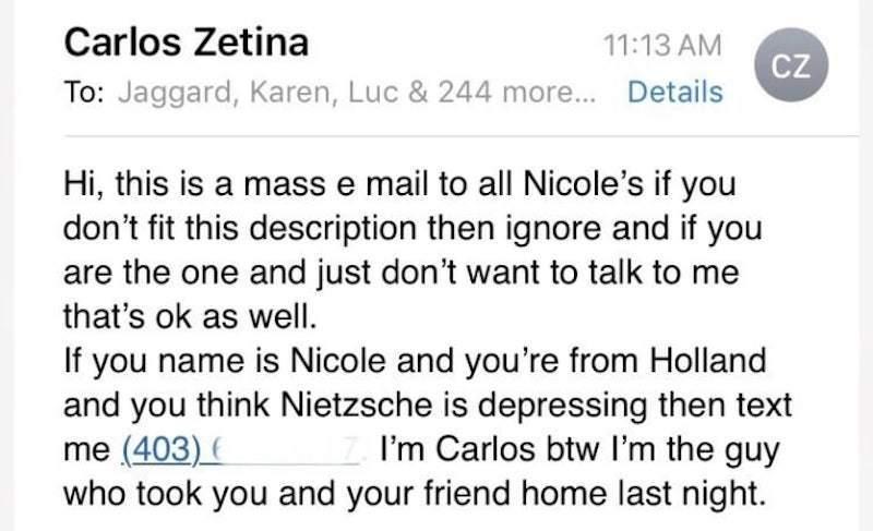 到底有多想找到妮可?卡洛斯一口氣寄信給246位妮可。圖擷自 buzzfeed...