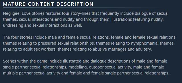 《Negligee: Love Stories》商店頁面詳細寫著遊戲中性描寫的內...