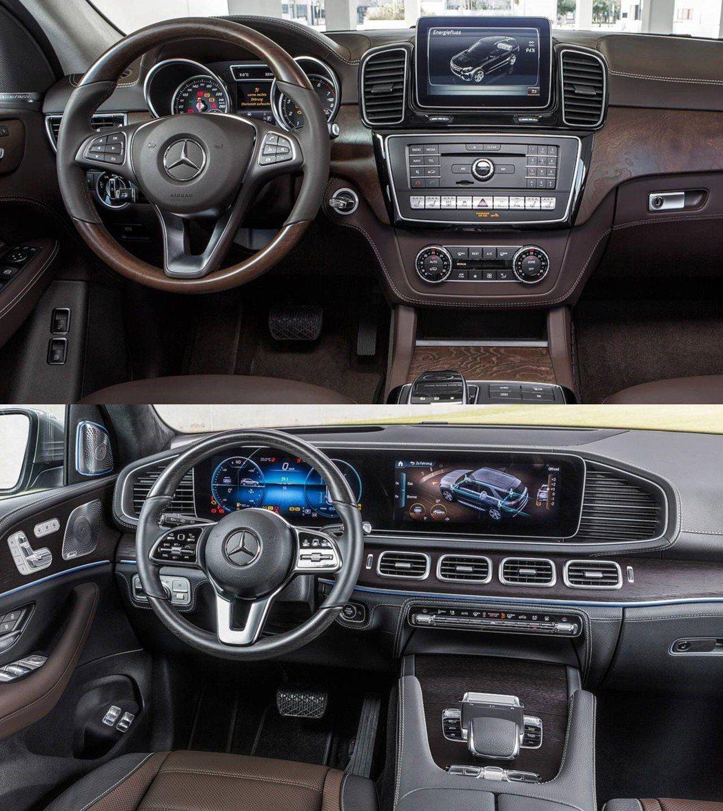 上:前一代GLE內裝 下:改款後GLE內裝。 摘自Mercedes