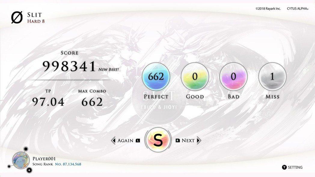 遊戲中承襲經典並以嶄新風格包裝的結算畫面。