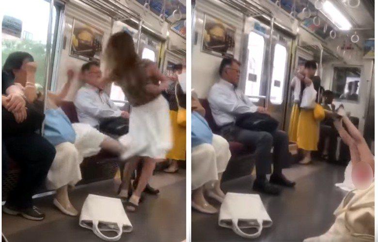 2名女乘客起爭執,一位女士用腳踹了另一位女士,被踢的女士重心不穩後摔倒地,不小心...
