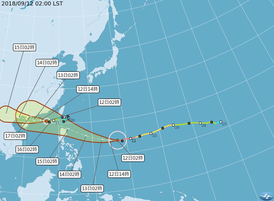 強颱山竹今天凌晨2時中心位於鵝鑾鼻東南東方1900公里海面上,未來將持續朝西移動...