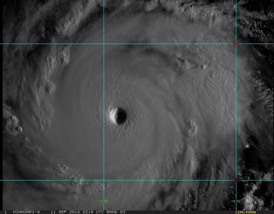 強颱山竹颱風眼清晰可見,結構紮實完整。圖/翻攝自RAMMB/Himawari-8...