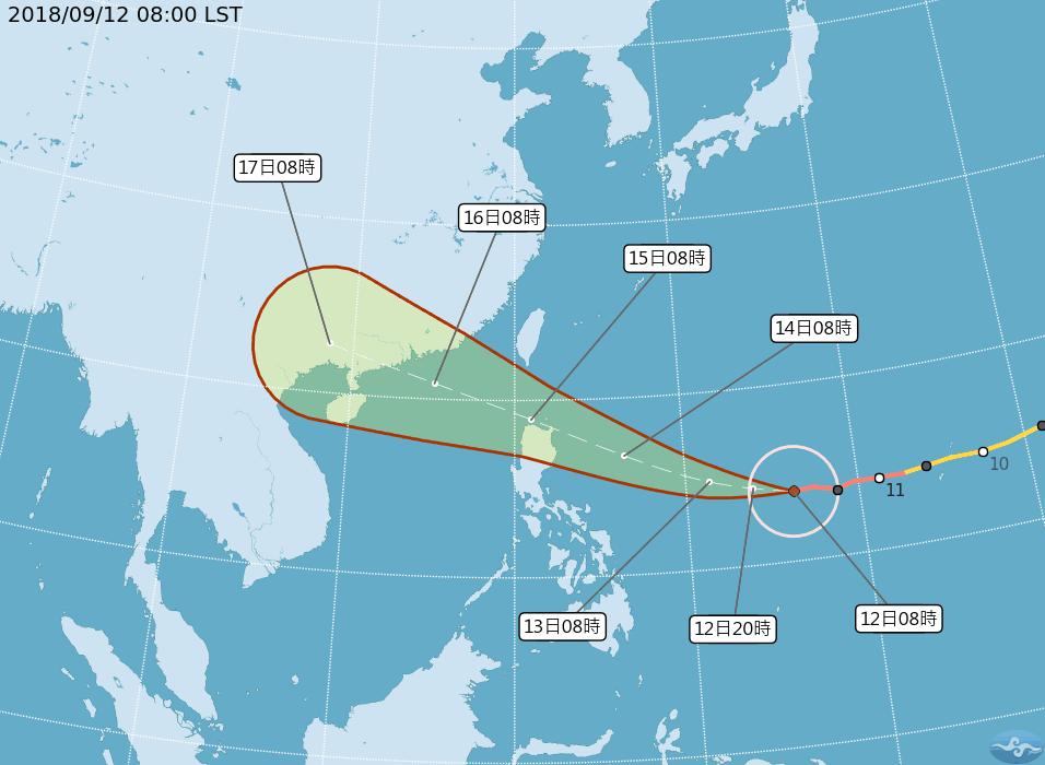 強颱山竹的路徑潛勢預報。圖/翻攝自氣象局網站