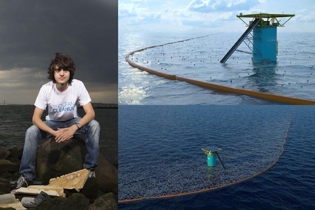 年僅24歲的「海洋清理」基金會執行長史萊特,打造出獨特U型浮柵,攔截海漂垃圾,期...