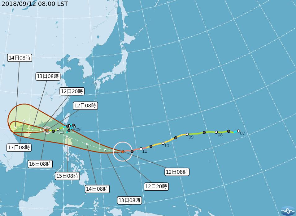 強颱山竹路徑潛勢預報。圖/翻攝自氣象局網站