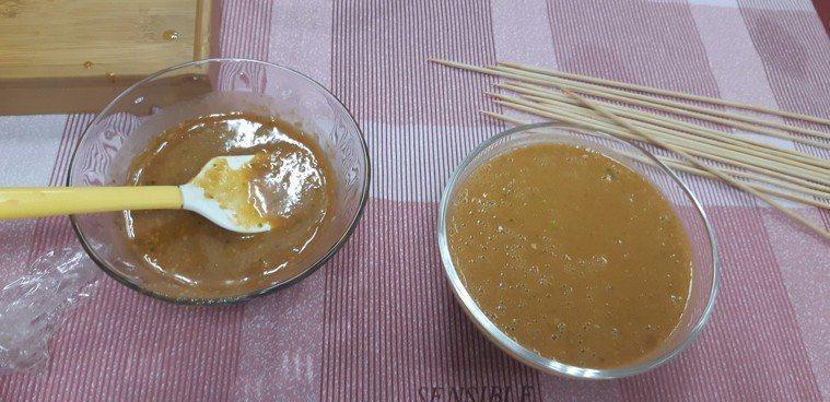 基隆醫院營養師團隊研發「香柚蔬果烤肉醬」。記者賴郁薇/攝影