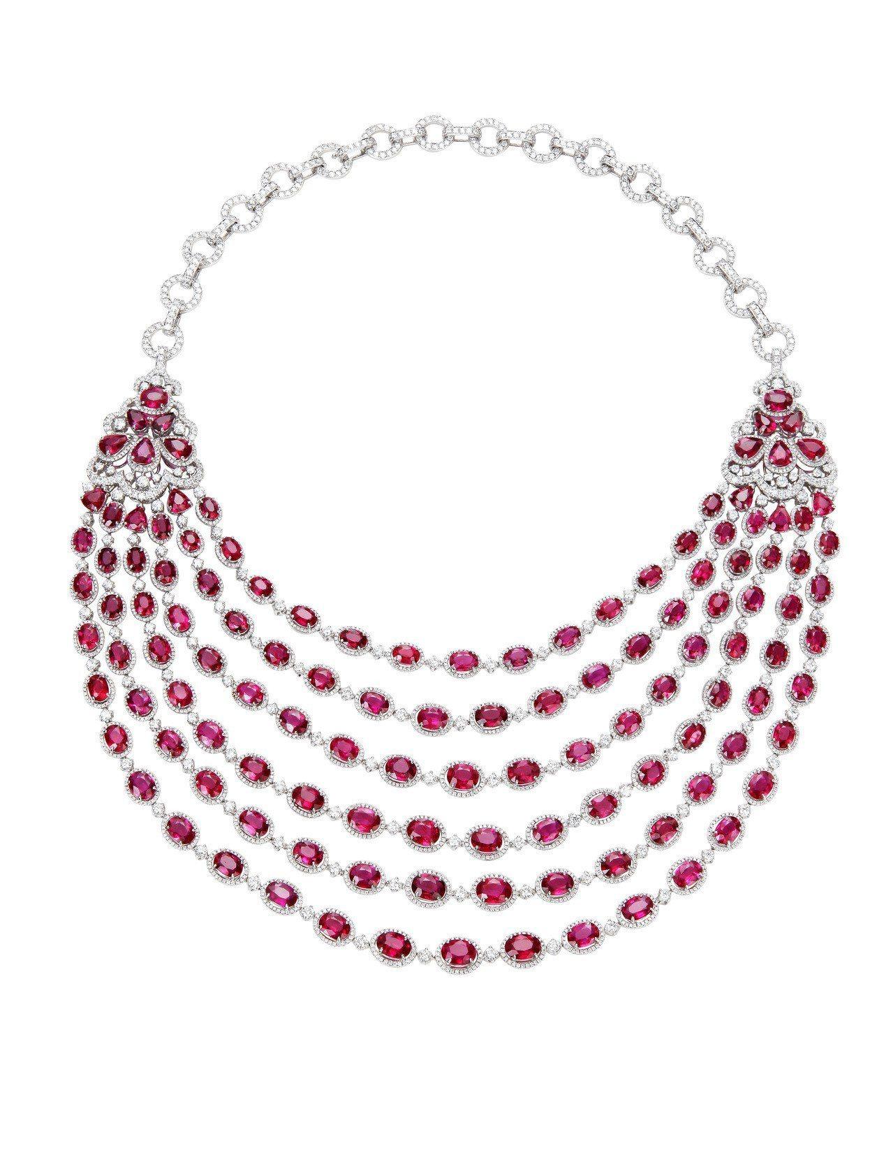 Red Carpet系列紅寶石套組珠寶,項鍊鑲嵌紅寶石總重136.14克拉、鑽石...