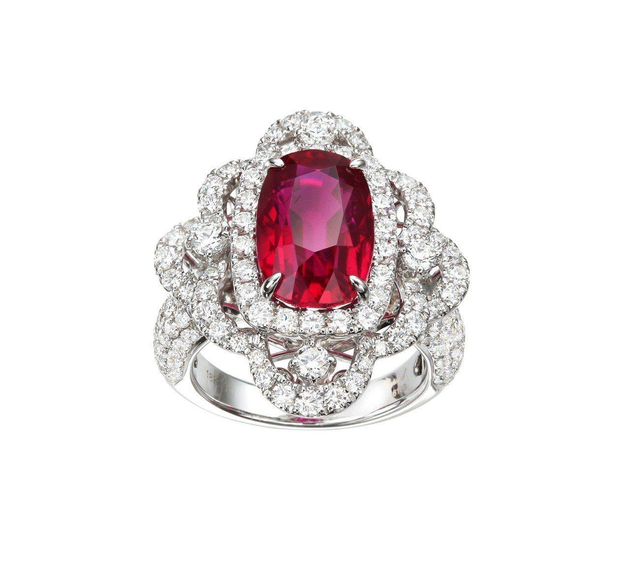 Red Carpet系列紅寶石套組珠寶,戒指鑲嵌紅寶石7.31克拉、鑽石2.43...