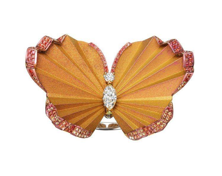 Red Carpet 系列蝴蝶戒指,18k白金與鈦金鑲嵌總重1.73克拉黃色剛玉...