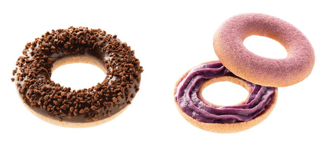 雙層紫薯波堤、脆脆紫薯波堤,每個售價45元。圖/Mister Donut提供