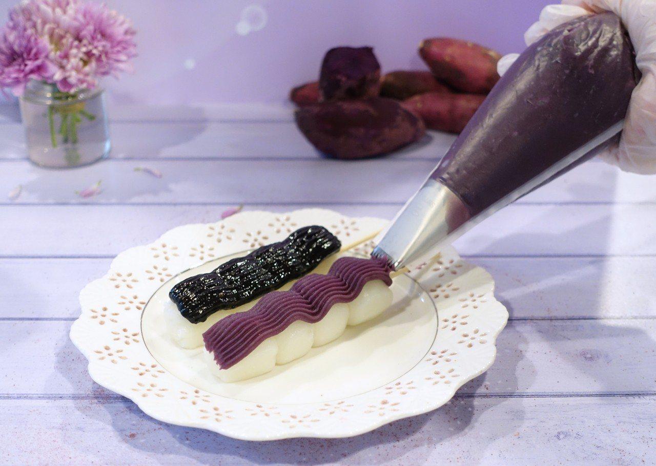 紫心番薯糰子、蜂蜜黑芝麻糰子,售價50元。記者沈佩臻/攝影