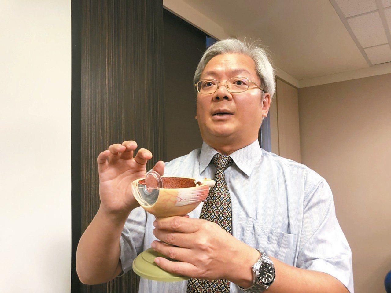 書田診所眼科主任醫師廖昶斌說,部分接受白內障手術的患者,不需戴眼鏡。 記者陳雨鑫...