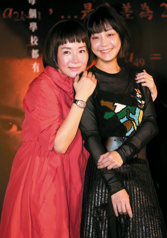 恬妞(左)與謝欣穎昨晚出席「藍色項圈」首映會。 記者侯永全/攝影