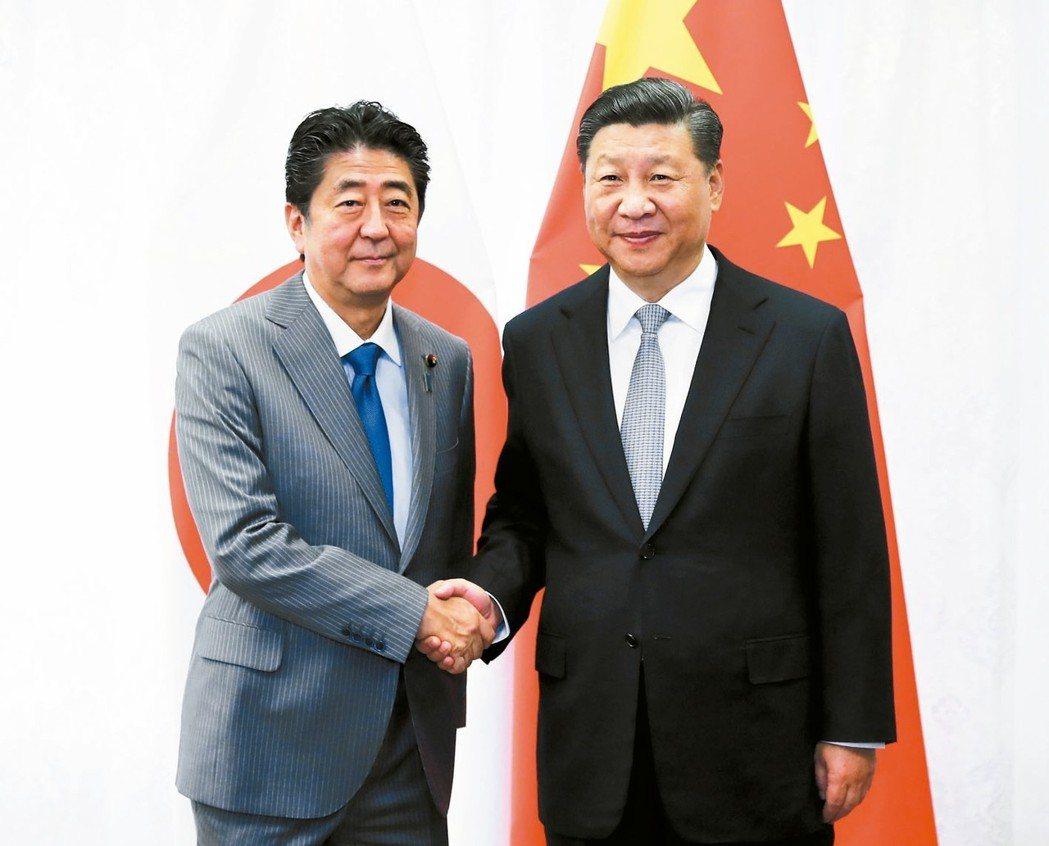 大陸國家主席習近平(右)會見日本首相安倍晉三。 (美聯社)
