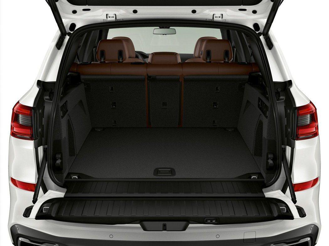 新世代BMW X5 xDrive45e iPerormance後車箱由於放置了鋰電池組,因此可收納容量較一般版本減少了150公升。 摘自BMW