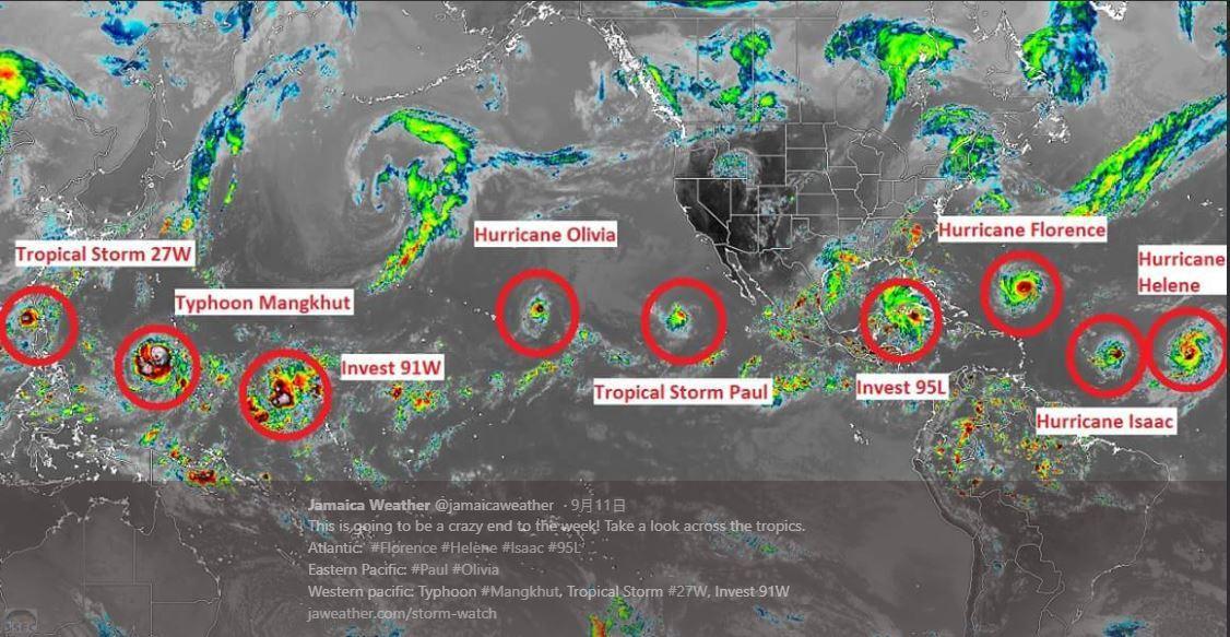 牙買加天氣預報Po出一張衛星圖,顯示目前北半球有九個風暴幾乎圍成一圈。圖擷自推特