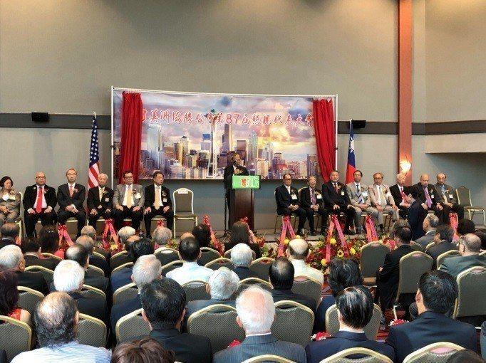 吳新興出席「美洲協勝公會第87屆懇親大會」致詞。圖/僑務委員會提供