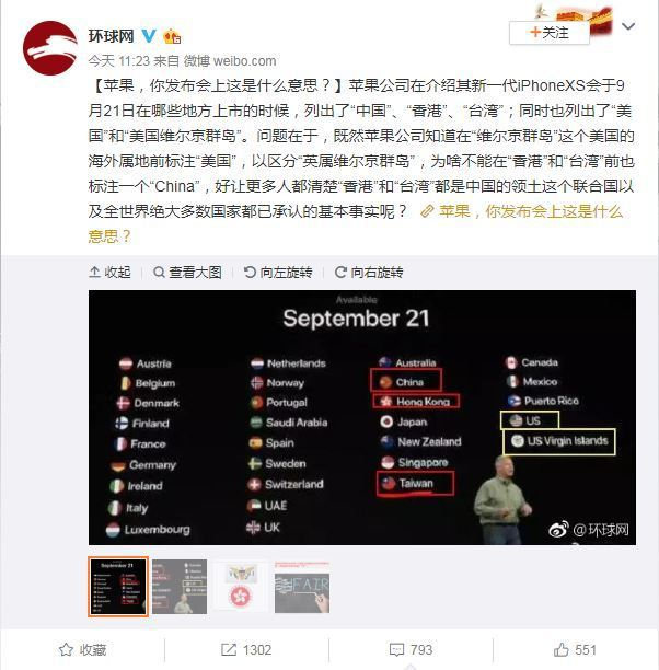 蘋果發表會在首波發售名單中,把台灣、香港與中國並列,且沒有被冠上中國所屬,此舉引...
