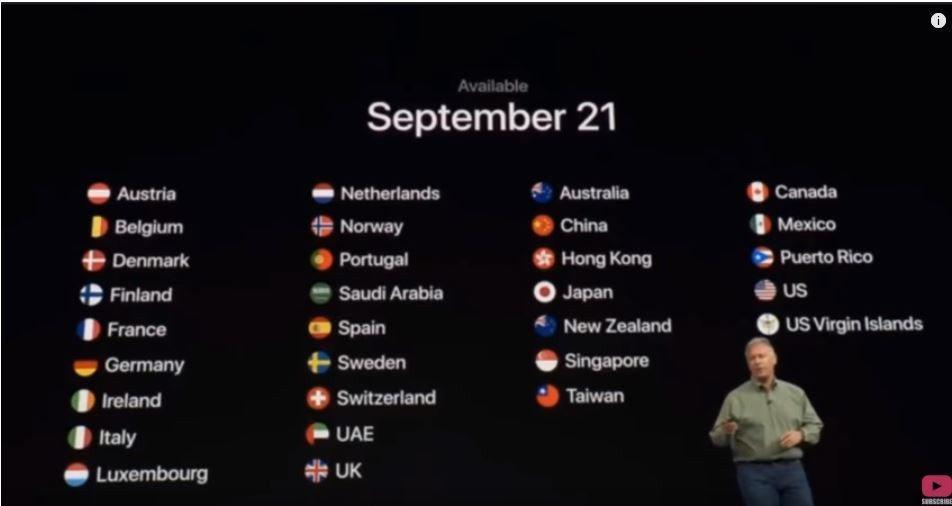 蘋果在首波發售名單中,把台灣、香港與中國並列。圖擷取自youtube