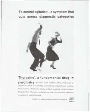 早期宣傳托拉靈療效的廣告,賣點在於服用這種藥可以控制過於激動的丈夫,防止他毆打自...