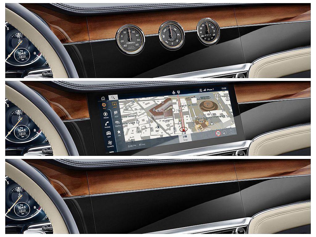 Bentley旋轉顯示幕除了觸控螢幕外,按鈕控制可翻轉至分別顯示車外溫度、羅盤、計時器的3個獨立錶盤,車輛熄火時則自動回歸到木飾板。 圖/Bentley提供
