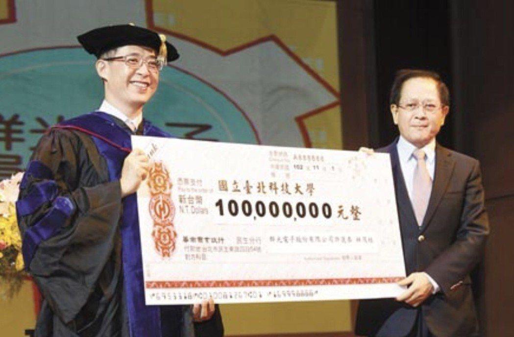 林茂桂(右)資助母校臺北科大發展貢獻良多,辭世消息令人震驚與不捨。 北科大/提供