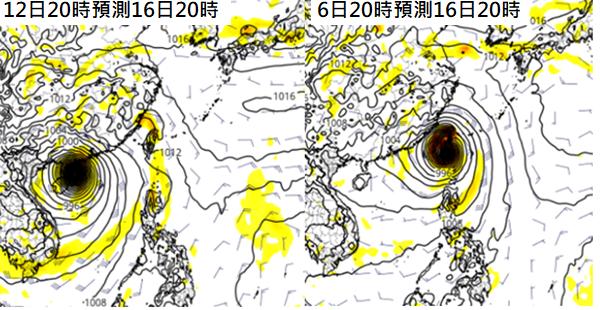 歐洲(ECMWF)模式6日20時的模擬(右)「山竹」16日正在侵襲台灣;但最新(...