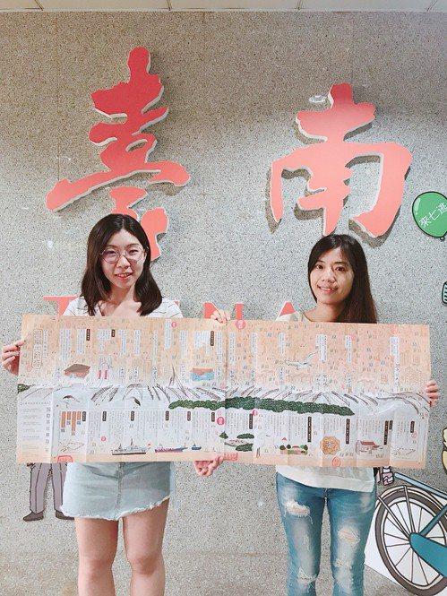 台南市觀光旅遊局推出「穿越時光的台南運河,台南古航道」摺頁地圖,介紹運河沿線景點...