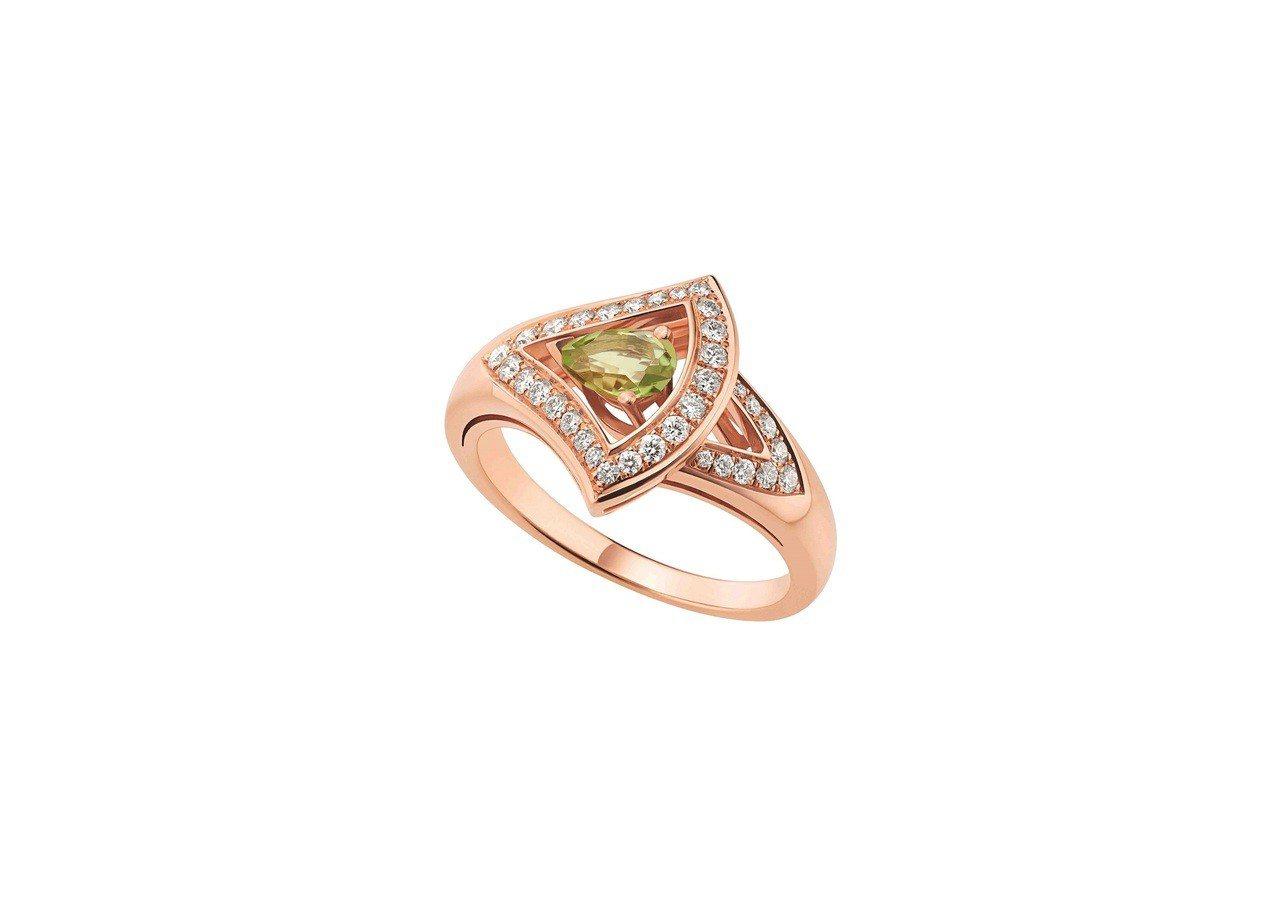BVLGARI DIVAS' DREAM系列玫瑰金綠碧璽戒指,13萬9,100元...