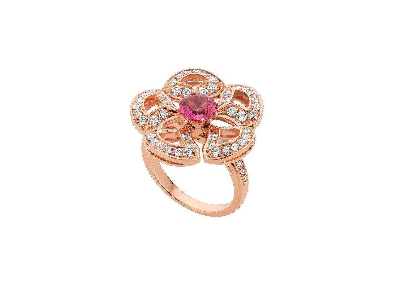 BVLGARI DIVAS' DREAM系列玫瑰金粉紅碧璽戒指,25萬2,900...