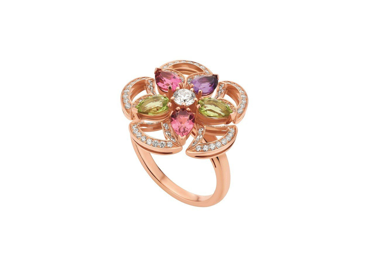BVLGARI DIVAS' DREAM系列玫瑰金彩寶戒指,28萬4,500元。...